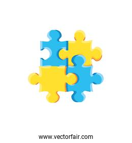set of puzzle pieces isolated icon