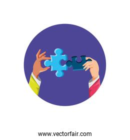 hands with puzzle pieces isolated icon