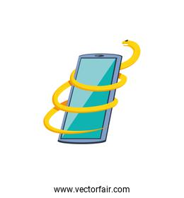 smartphone with snake virus attack isolated icon