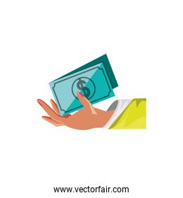 hand with bill dollar isolated icon