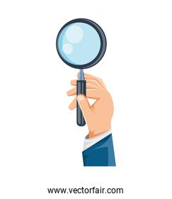 hand with search magnifying glass icon