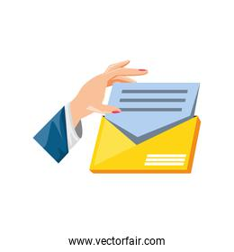hand with envelope mail isolated icon