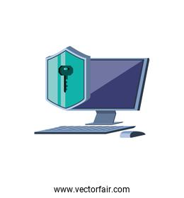 desktop computer with shield secure