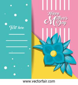 happy mother day card with flower