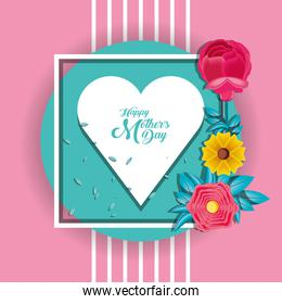 happy mother day card with flowers and heart