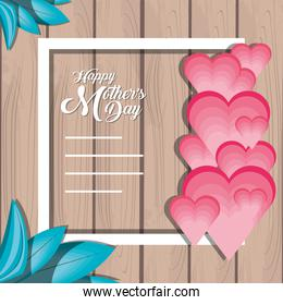 happy mother day card with hearts and square frame