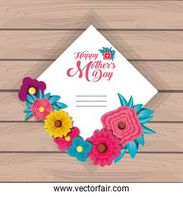 happy mother day card with flowers and frame square