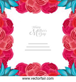 happy mother day card with frame of flowers