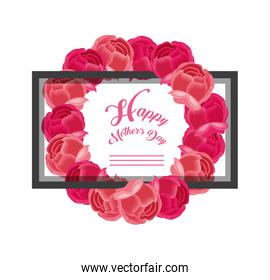 happy mother day card with crown of flowers