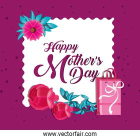 happy mother day card with bag shopping and flowers