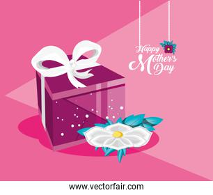 happy mother day card with gift and flower