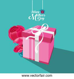happy mother day card with gift and flowers