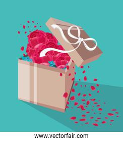 gift box with flowers and petals