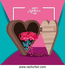 happy mother day card with heart wooden chest and flowers
