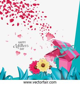 happy mother day banner with flowers and gift