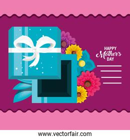 happy mother day card with flowers and gift