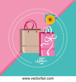 happy mother day card with bags shopping and flower