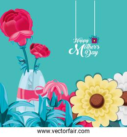 happy mother day card with flowers in vase