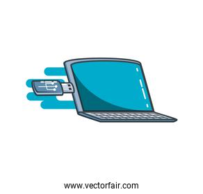 laptop computer with usb isolated icon