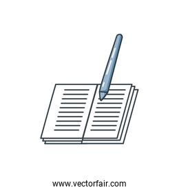 library book with pencil isolated icon
