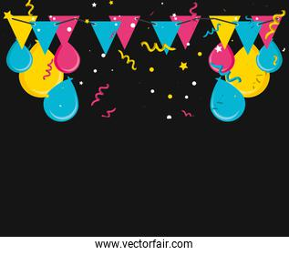 pattern of confetti with garlands hanging and balloons helium