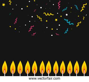 pattern of party confetti with fire of candles birthday