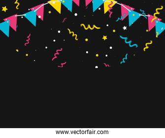 pattern of party confetti with garlands hanging