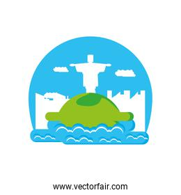 corcovado christ monument with sea