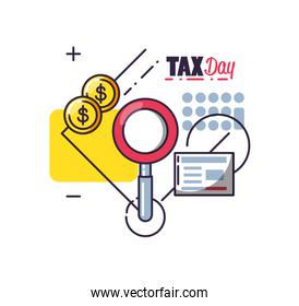 tax day with magnifying glass and set icons