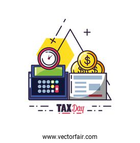 tax day with calculator and set icons