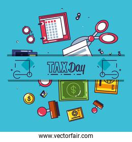 tax day with calendar reminder and set icons