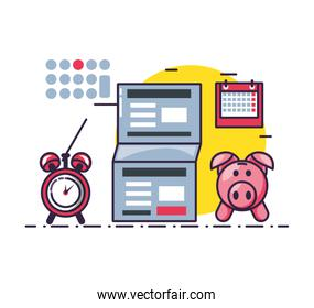 piggy saving with document and set icons