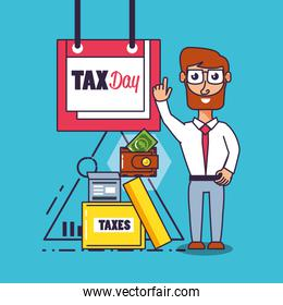 tax day with businessman and set icons
