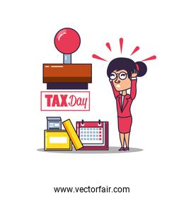 tax day with businesswoman and set icons