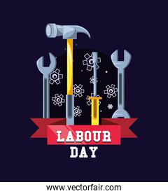 labour day celebration with tools and ribbon