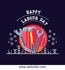 happy labour day with tools and pinions