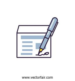 pen ink write with document