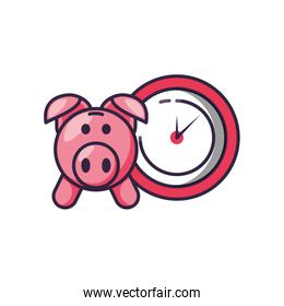 clock time with piggy bank