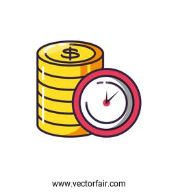 clock time with pile coins