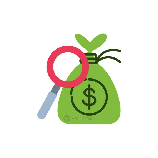 search magnifying glass with bag money
