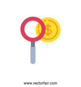 magnifying glass with coin