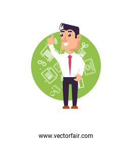 businessman elegant with hand up and set icons office