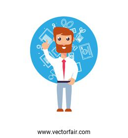 businessman elegant with hand up and items set office
