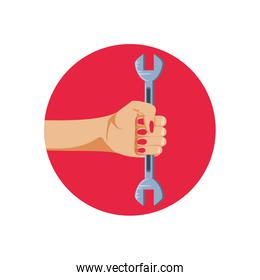hand in frame circular with wrench tool