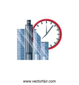 clock time with cityscape