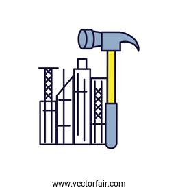 hammer tool with cityscape isolated icon