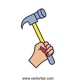 hand with hammer tool isolated icon