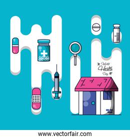 world health day with house and set icons