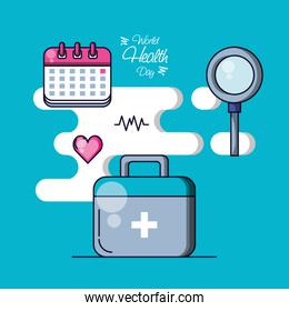 world health day with first aid kit and set icons