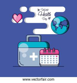 world health day with planet and set icons